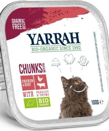 økologisk kattemat med kylling og biff fra Yarrah