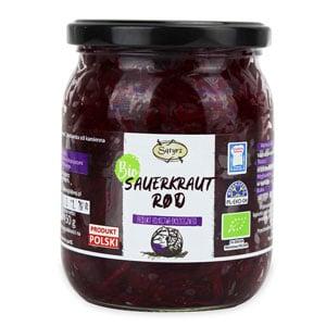 Økologisk, glutenfri rød sauerkraut 450g Satyrz