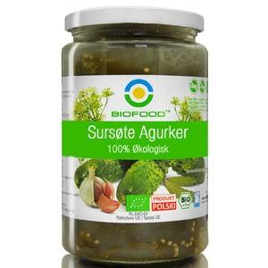 Økologisk, glutenfri sursøte agurker 700g Bio Food